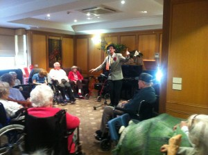 Image of Frank the Aged Care Entertainer, during his Nursing Home Entertainers show